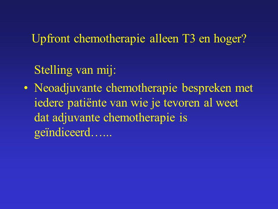 Upfront chemotherapie alleen T3 en hoger? Stelling van mij: Neoadjuvante chemotherapie bespreken met iedere patiënte van wie je tevoren al weet dat ad