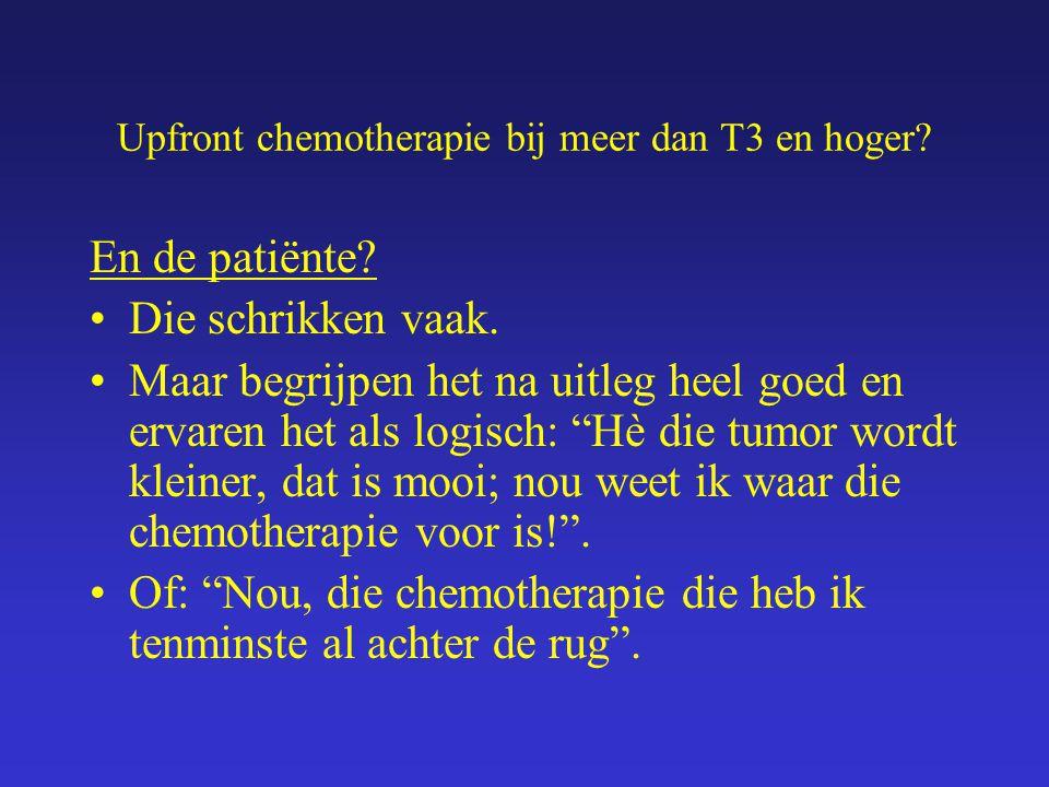 Upfront chemotherapie bij meer dan T3 en hoger? En de patiënte? Die schrikken vaak. Maar begrijpen het na uitleg heel goed en ervaren het als logisch: