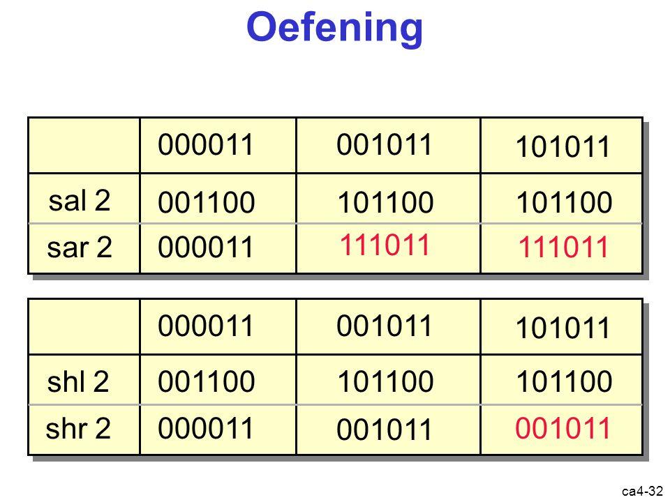 ca4-32 Oefening 001011000011 101011 sal 2 sar 2 001100 000011 101100 111011 101100 111011 shl 2 shr 2 001011000011 101011 001100 000011 101100 001011 101100 001011