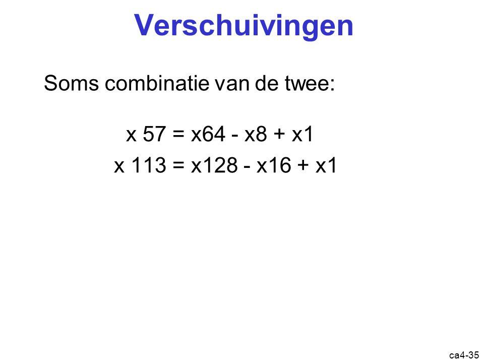 ca4-35 Verschuivingen x 57 = x64 - x8 + x1 x 113 = x128 - x16 + x1 Soms combinatie van de twee: