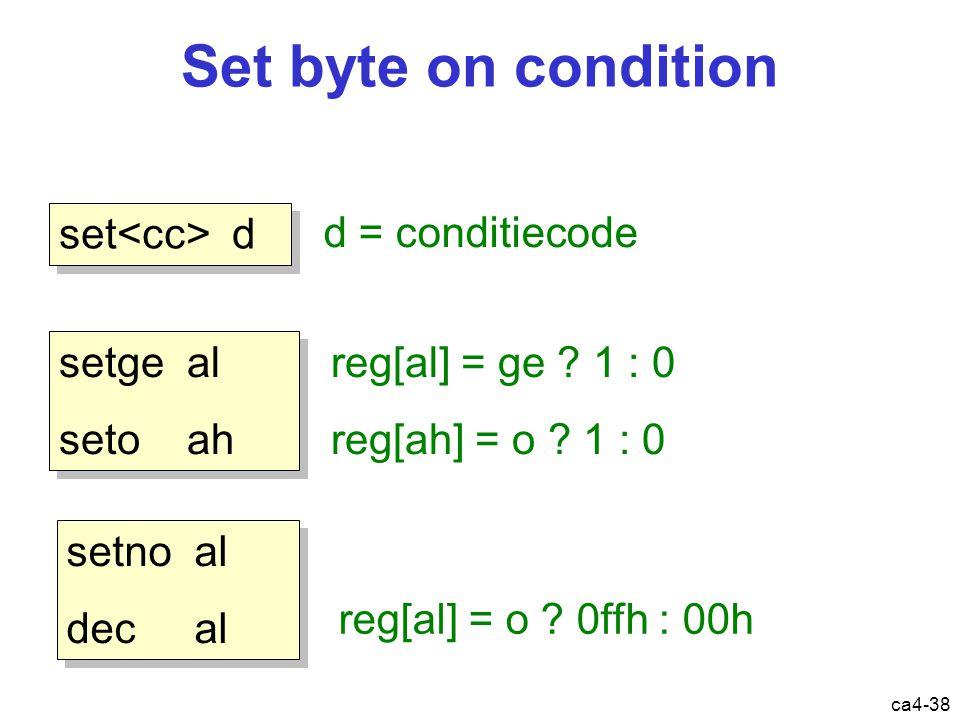 ca4-38 Set byte on condition set d d = conditiecode setge al seto ah setge al seto ah reg[al] = ge .