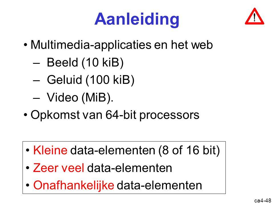 ca4-48 Aanleiding Multimedia-applicaties en het web –Beeld (10 kiB) –Geluid (100 kiB) –Video (MiB).