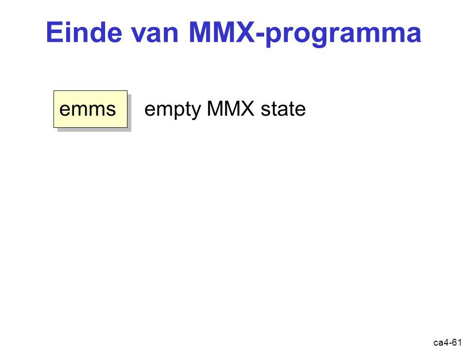 ca4-61 Einde van MMX-programma emms empty MMX state