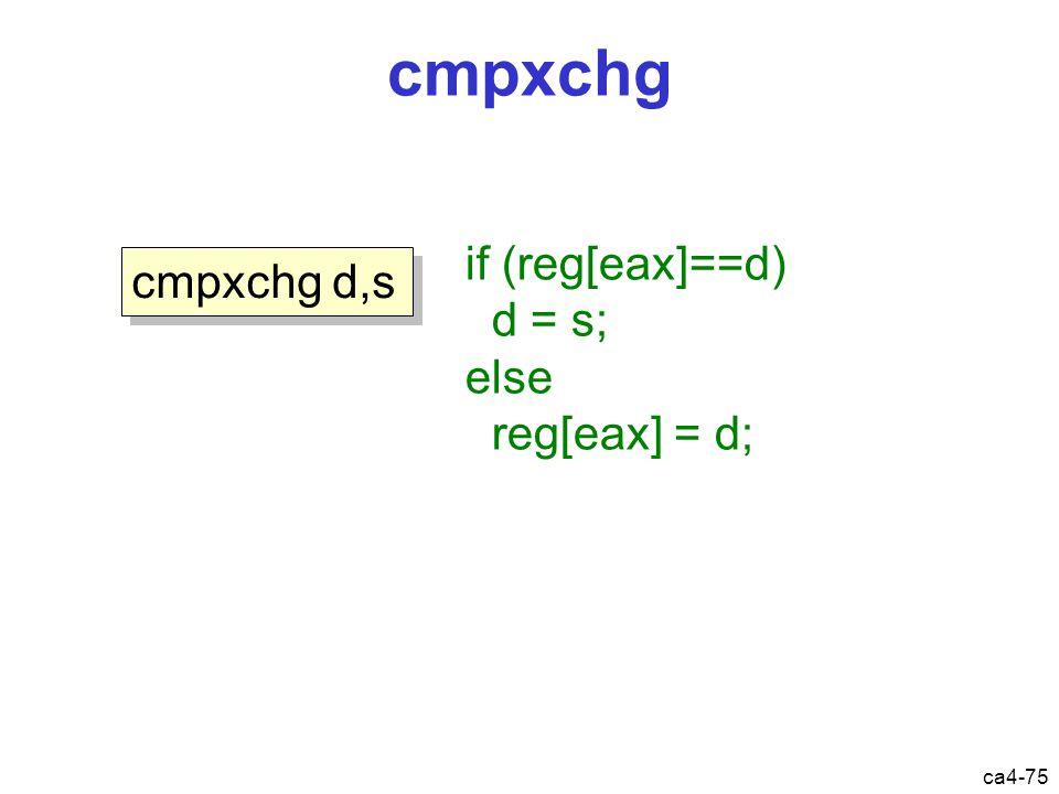 ca4-75 cmpxchg cmpxchg d,s if (reg[eax]==d) d = s; else reg[eax] = d;