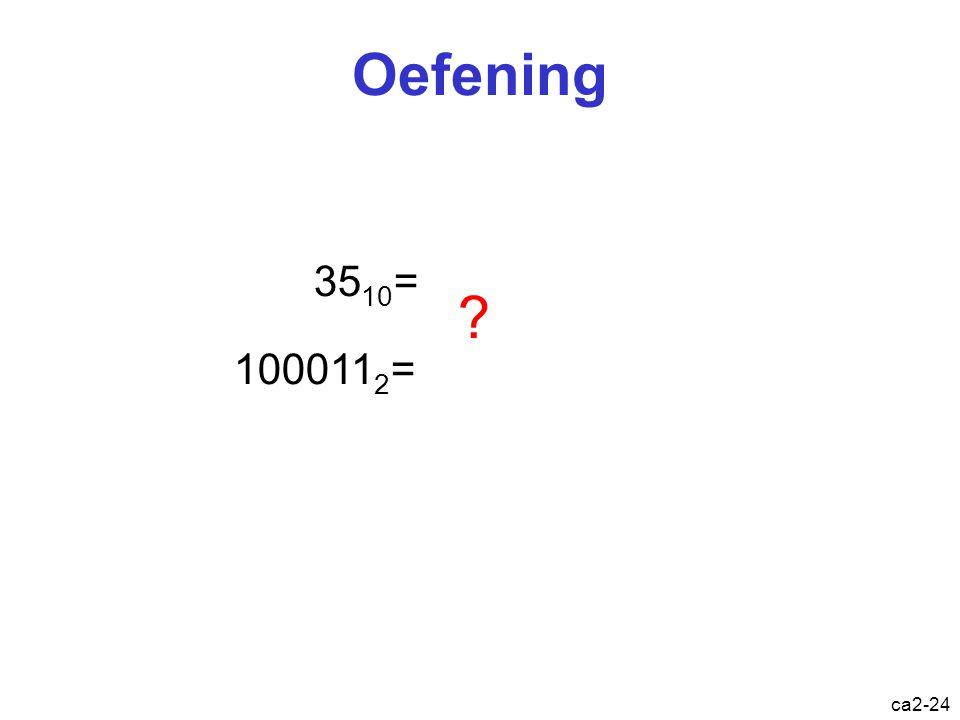 ca2-23 Binair  decimaal 10011100 0 x 2 + 1 = 1 1 x 2 + 0 = 2 2 x 2 + 0 = 4 4 x 2 + 1 = 9 9 x 2 + 1 = 19 19 x 2 + 1 = 39 39 x 2 + 0 = 78 78 x 2 + 0 =