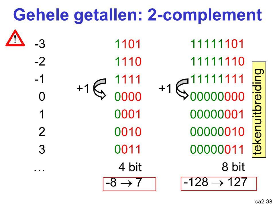ca2-37 Voorbeeld 1-complementoptelling 3 0011 -1 1110 + 0100 3 0011 1 0001 + 4 0010 2 11010 1 -3 1100 -1 1110 + + 1011 -4 Som = A+B+overdracht 10001 +