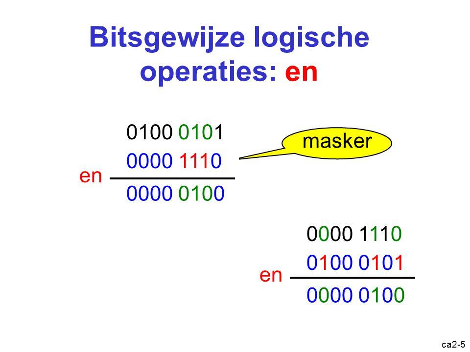 ca2-4 Logische operaties O1 O2 en 0 0 0 0 1 0 1 0 0 1 1 1 O1 O2 of 0 0 0 0 1 1 1 0 1 1 1 1 O1 O2 eof 0 0 0 0 1 1 1 0 1 1 1 0 O niet 0 1 1 0 dyadische