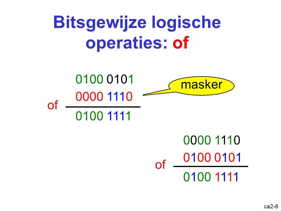 ca2-5 Bitsgewijze logische operaties: en 0100 0101 0000 1110 en masker 0000 0100 0100 0101 0000 1110 0000 0100 0000 1110 0100 0101 en
