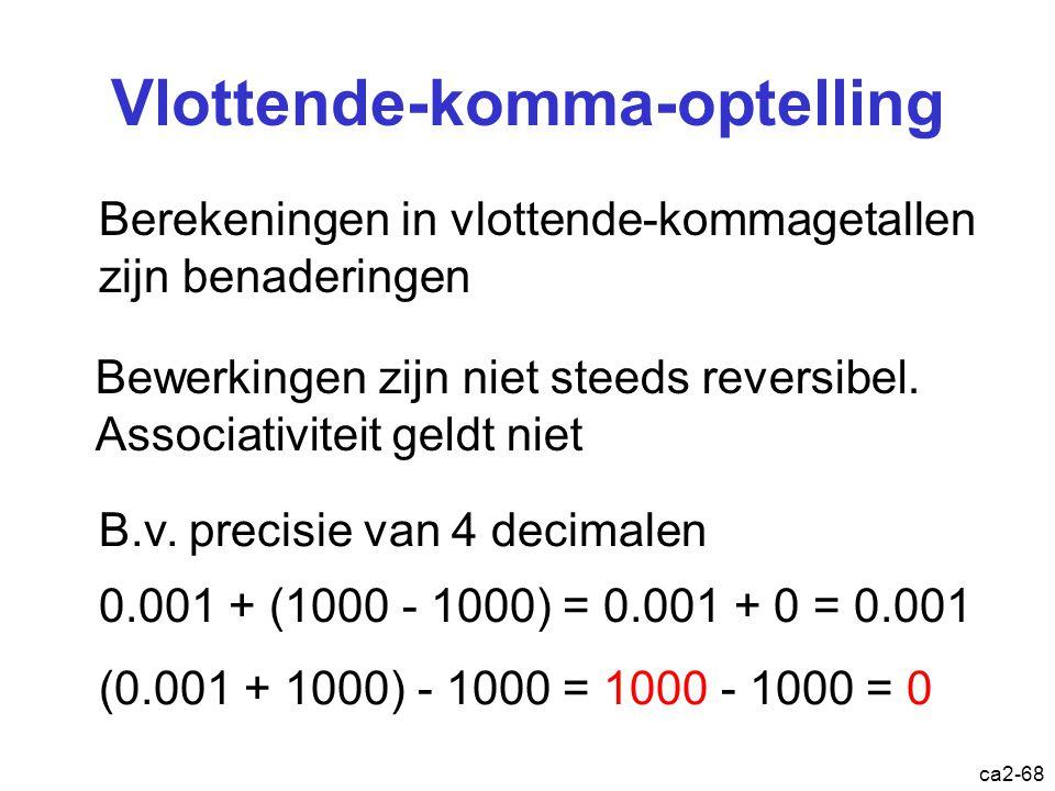 ca2-67 Vlottende-komma-aftrekking 1.0010 x 2 4 18.0 - 1.0010 x 2 1 -2.25 - 0.0010010 x 2 4 -2.25 0.1111110 x 2 4 15.75 1.111110 x 2 3 15.75 10.0000 x