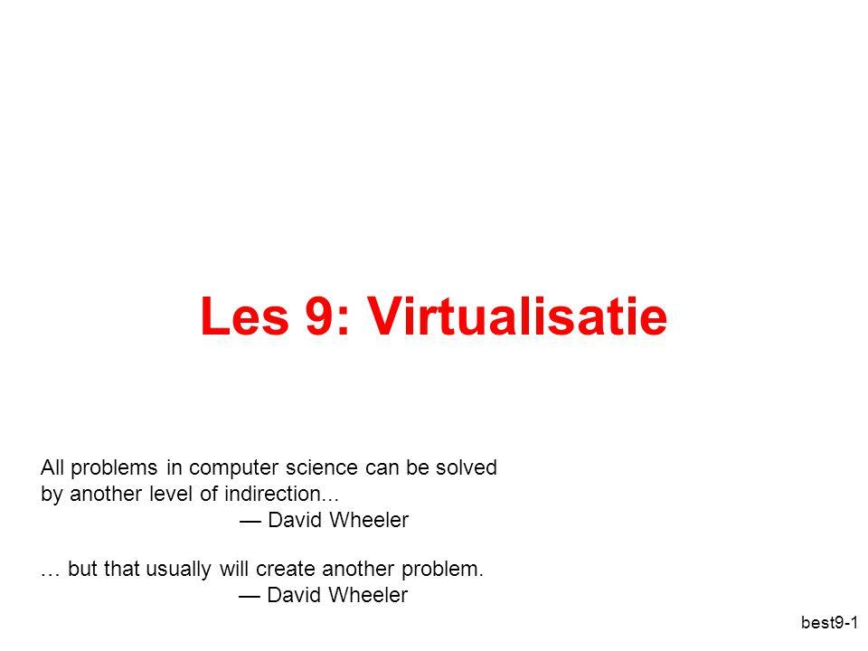 Paravirtualisatie = statisch binair herschrijven best9-22 VMM Hardware Virtuele Machine OS_virt App gebruiker kern hypercalls