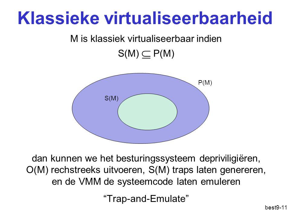 Klassieke virtualiseerbaarheid best9-11 M is klassiek virtualiseerbaar indien S(M)  P(M) dan kunnen we het besturingssysteem depriviligiëren, O(M) rechstreeks uitvoeren, S(M) traps laten genereren, en de VMM de systeemcode laten emuleren Trap-and-Emulate P(M) S(M)