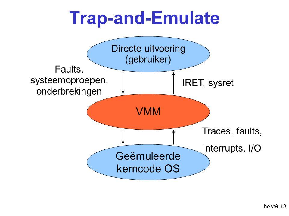 Trap-and-Emulate best9-13 Directe uitvoering (gebruiker) Geëmuleerde kerncode OS VMM Faults, systeemoproepen, onderbrekingen IRET, sysret Traces, faults, interrupts, I/O