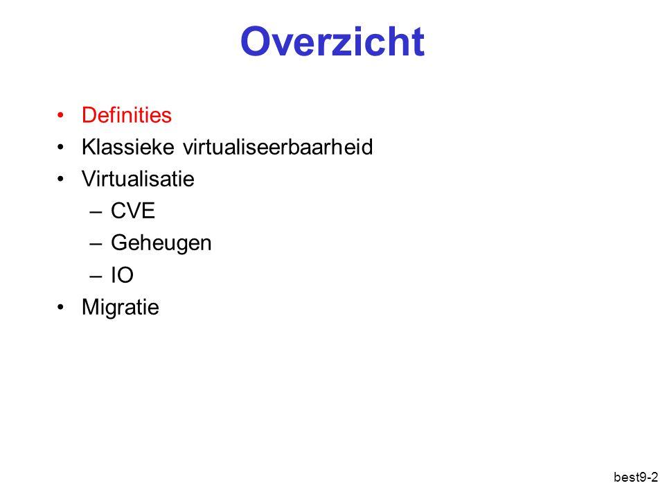 best9-2 Overzicht Definities Klassieke virtualiseerbaarheid Virtualisatie –CVE –Geheugen –IO Migratie