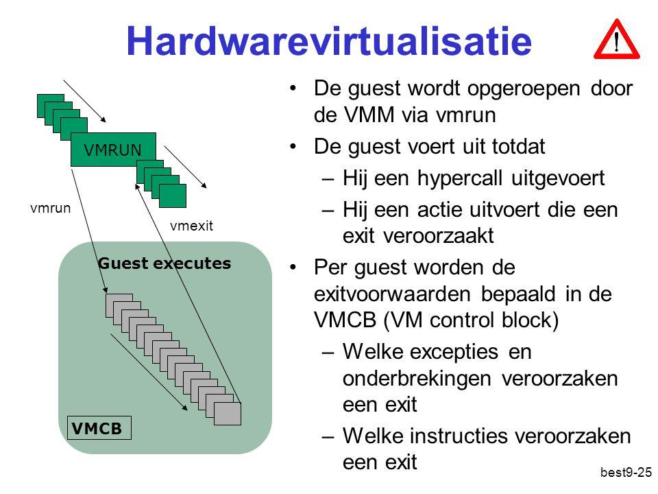Guest executes VMCB Hardwarevirtualisatie VMRUN vmrun vmexit De guest wordt opgeroepen door de VMM via vmrun De guest voert uit totdat –Hij een hypercall uitgevoert –Hij een actie uitvoert die een exit veroorzaakt Per guest worden de exitvoorwaarden bepaald in de VMCB (VM control block) –Welke excepties en onderbrekingen veroorzaken een exit –Welke instructies veroorzaken een exit best9-25