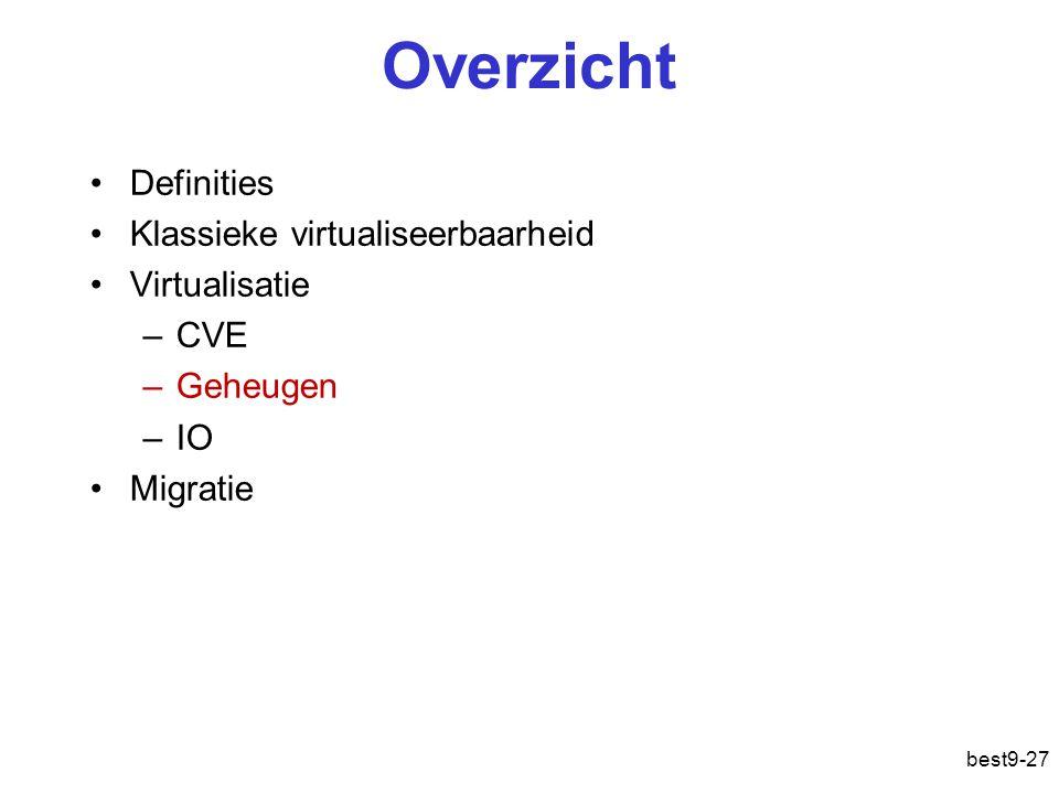 best9-27 Overzicht Definities Klassieke virtualiseerbaarheid Virtualisatie –CVE –Geheugen –IO Migratie