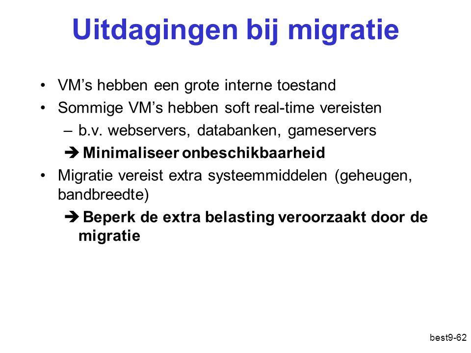 Uitdagingen bij migratie VM's hebben een grote interne toestand Sommige VM's hebben soft real-time vereisten –b.v.