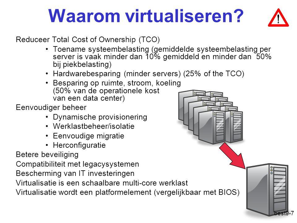 Virtualisatie CVE In software –Simuleer de processor (traag) –Dynamisch binair herschrijven –Paravirtualisatie In hardware –Trap-and-emulate best9-18