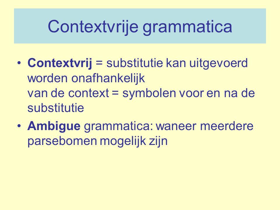 Contextvrije grammatica Contextvrij = substitutie kan uitgevoerd worden onafhankelijk van de context = symbolen voor en na de substitutie Ambigue gram