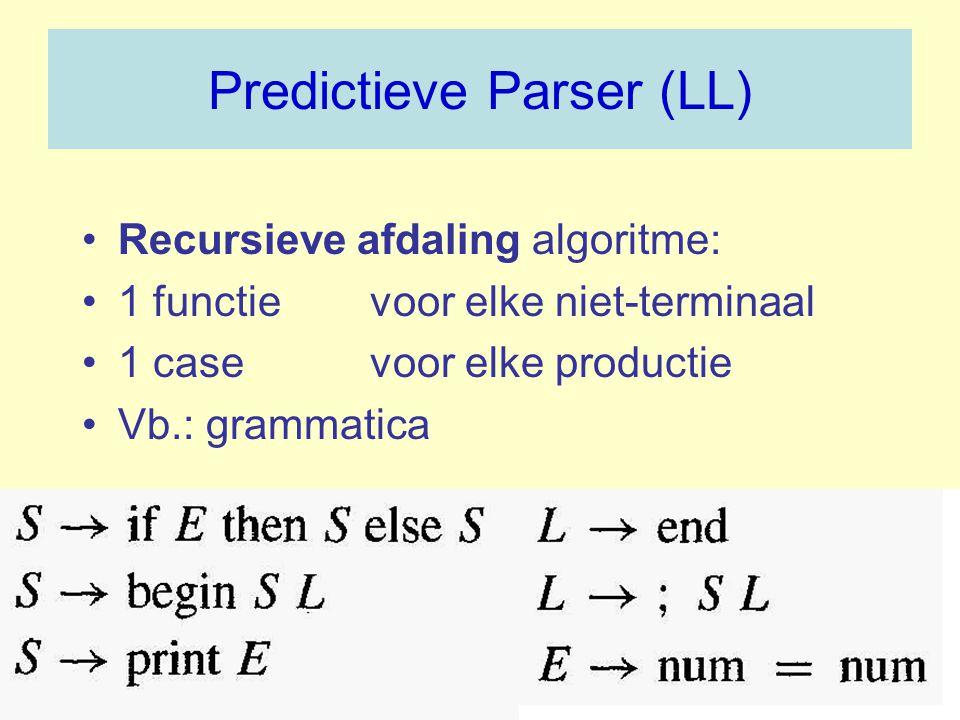 Predictieve Parser (LL) Recursieve afdaling algoritme: 1 functie voor elke niet-terminaal 1 casevoor elke productie Vb.: grammatica