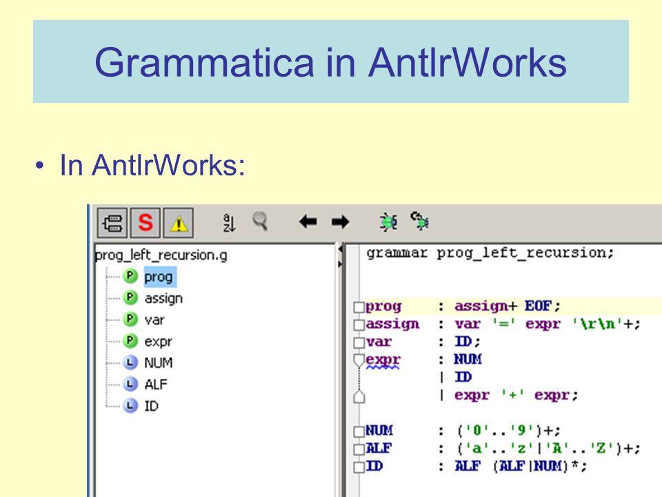 Grammatica in AntlrWorks In AntlrWorks: