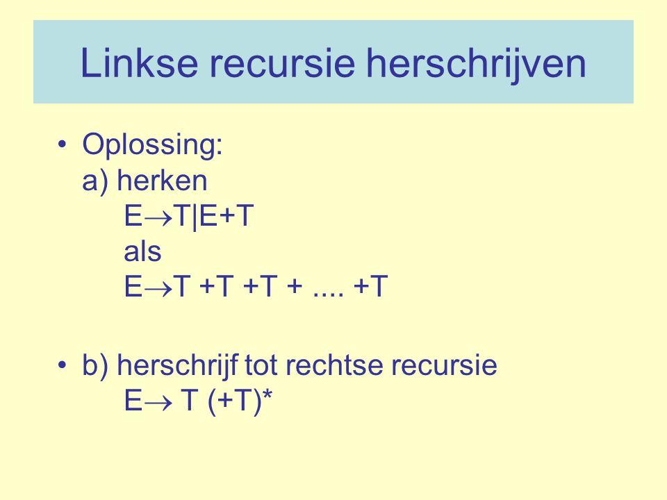 Linkse recursie herschrijven Oplossing: a) herken E  T|E+T als E  T +T +T +.... +T b) herschrijf tot rechtse recursie E  T (+T)*