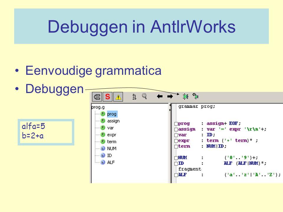 Debuggen in AntlrWorks Eenvoudige grammatica Debuggen alfa=5 b=2+a