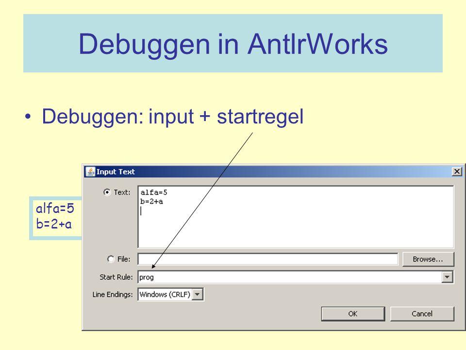 Debuggen in AntlrWorks Debuggen: input + startregel alfa=5 b=2+a
