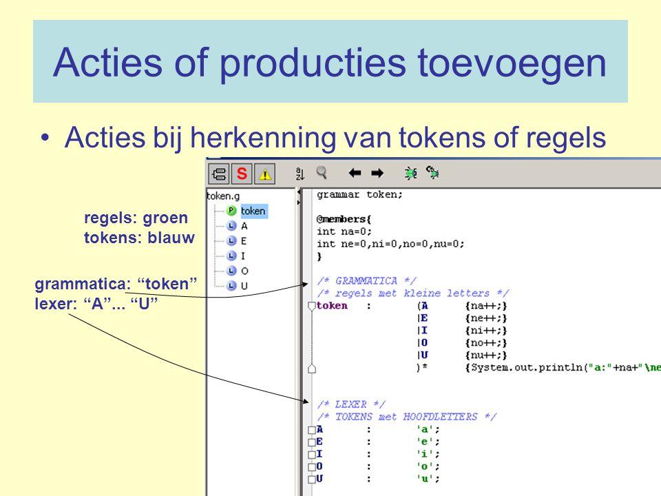 """Acties of producties toevoegen Acties bij herkenning van tokens of regels regels: groen tokens: blauw grammatica: """"token"""" lexer: """"A""""... """"U"""""""