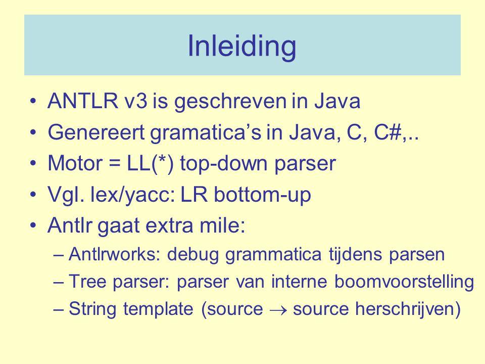 Inleiding ANTLR v3 is geschreven in Java Genereert gramatica's in Java, C, C#,.. Motor = LL(*) top-down parser Vgl. lex/yacc: LR bottom-up Antlr gaat