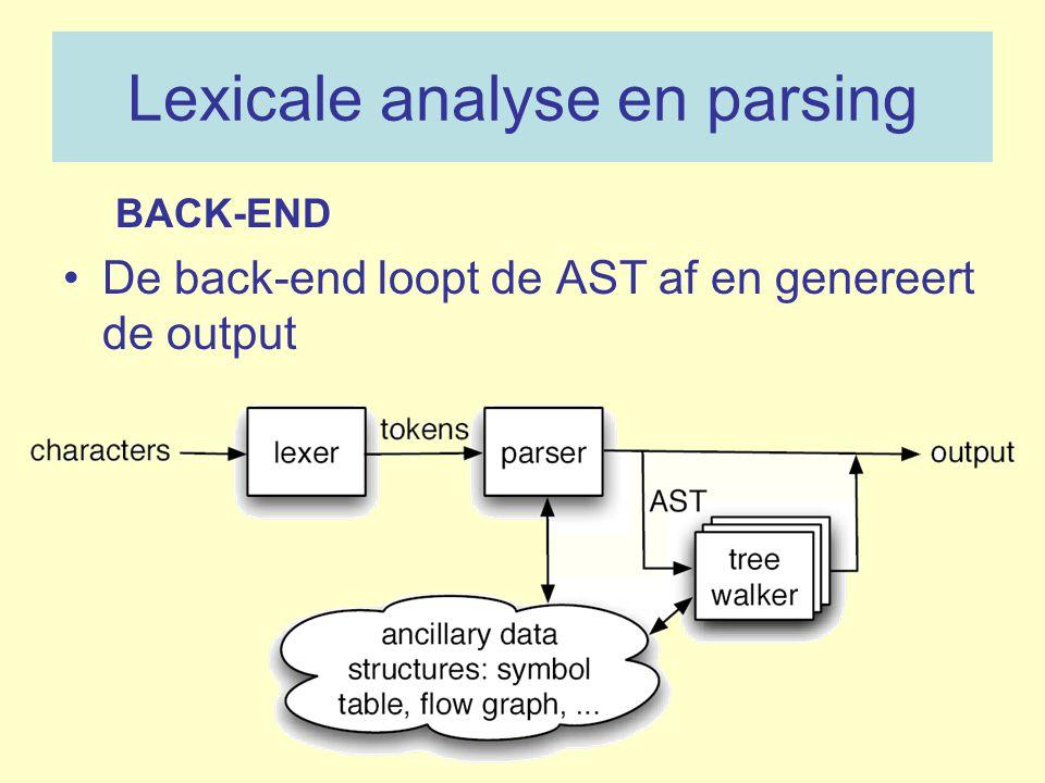 Lexicale analyse en parsing BACK-END De back-end loopt de AST af en genereert de output