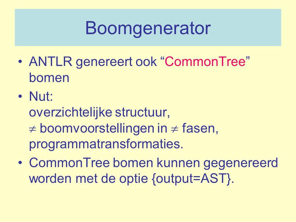 """Boomgenerator ANTLR genereert ook """"CommonTree"""" bomen Nut: overzichtelijke structuur,  boomvoorstellingen in  fasen, programmatransformaties. CommonT"""