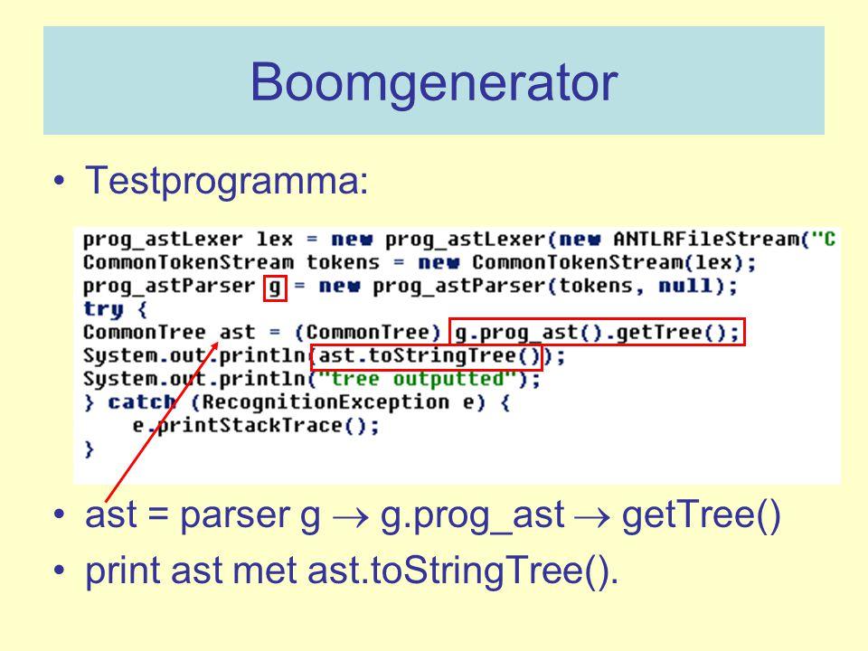Boomgenerator Testprogramma: ast = parser g  g.prog_ast  getTree() print ast met ast.toStringTree().