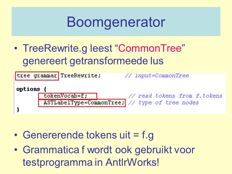 """Boomgenerator TreeRewrite.g leest """"CommonTree"""" genereert getransformeede lus Genererende tokens uit = f.g Grammatica f wordt ook gebruikt voor testpro"""