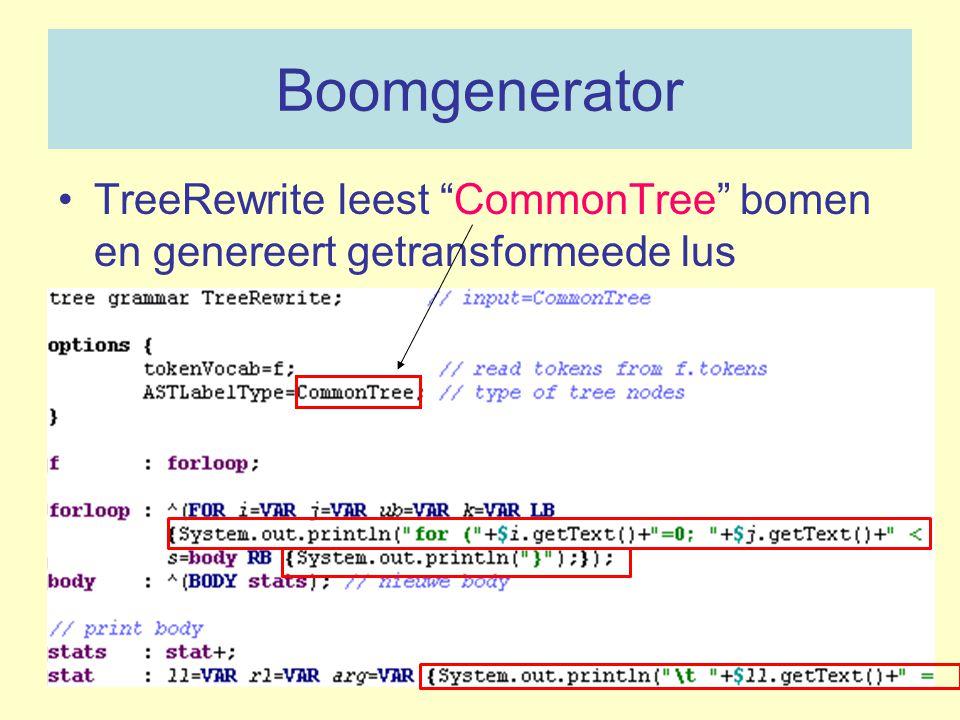 """Boomgenerator TreeRewrite leest """"CommonTree"""" bomen en genereert getransformeede lus"""