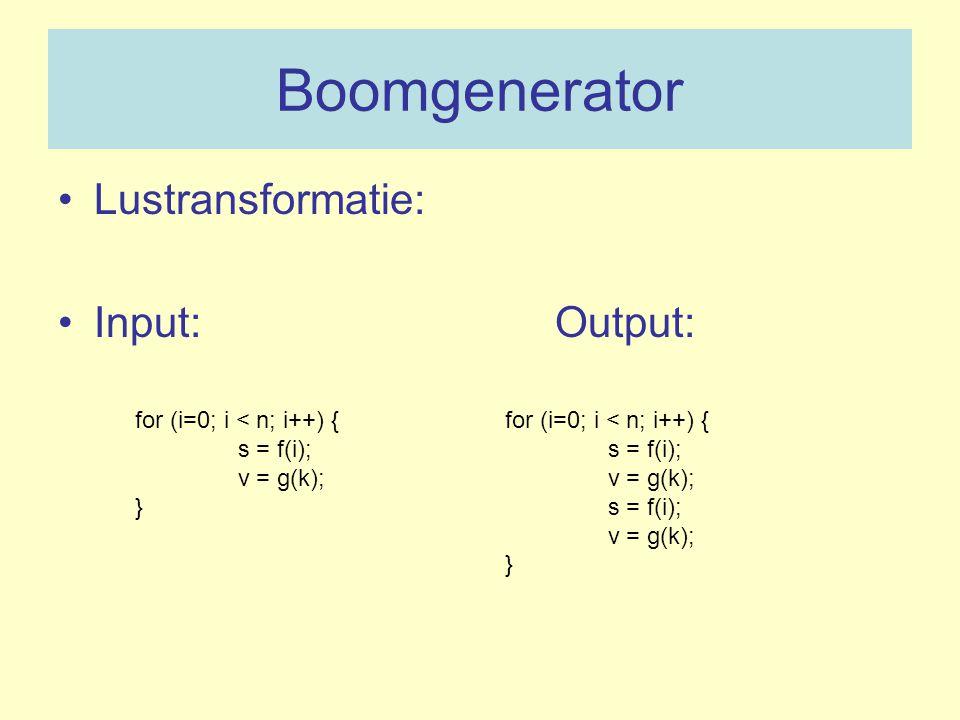 Boomgenerator Lustransformatie: Input: Output: for (i=0; i < n; i++) { s = f(i); v = g(k); } for (i=0; i < n; i++) { s = f(i); v = g(k); s = f(i); v =