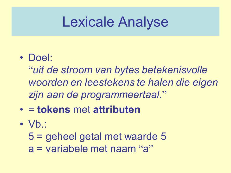 """Lexicale Analyse Doel: """" uit de stroom van bytes betekenisvolle woorden en leestekens te halen die eigen zijn aan de programmeertaal. """" = tokens met a"""