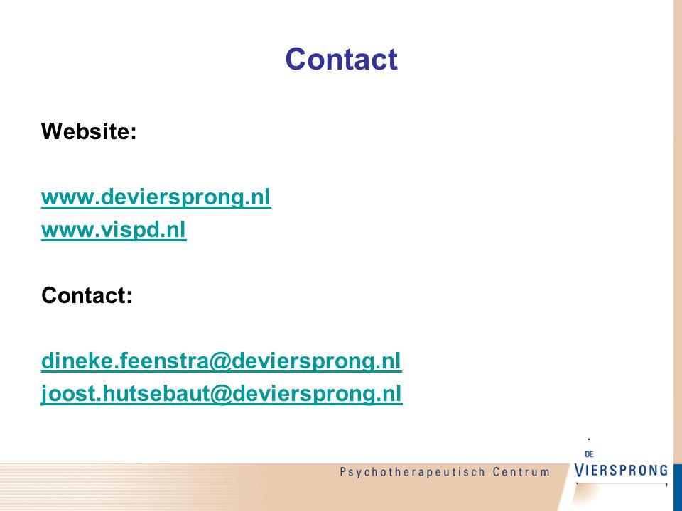 Contact Website: www.deviersprong.nl www.vispd.nl Contact: dineke.feenstra@deviersprong.nl joost.hutsebaut@deviersprong.nl