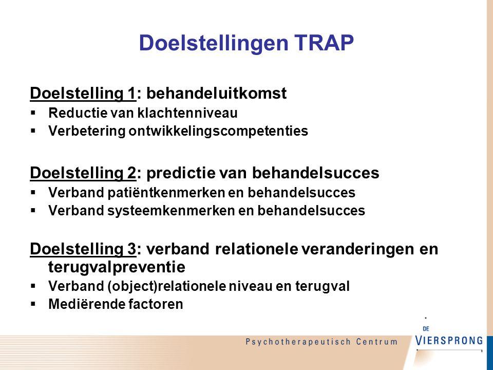 Doelstellingen TRAP Doelstelling 1: behandeluitkomst  Reductie van klachtenniveau  Verbetering ontwikkelingscompetenties Doelstelling 2: predictie v