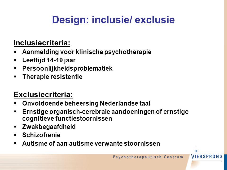 Design: inclusie/ exclusie Inclusiecriteria:  Aanmelding voor klinische psychotherapie  Leeftijd 14-19 jaar  Persoonlijkheidsproblematiek  Therapi