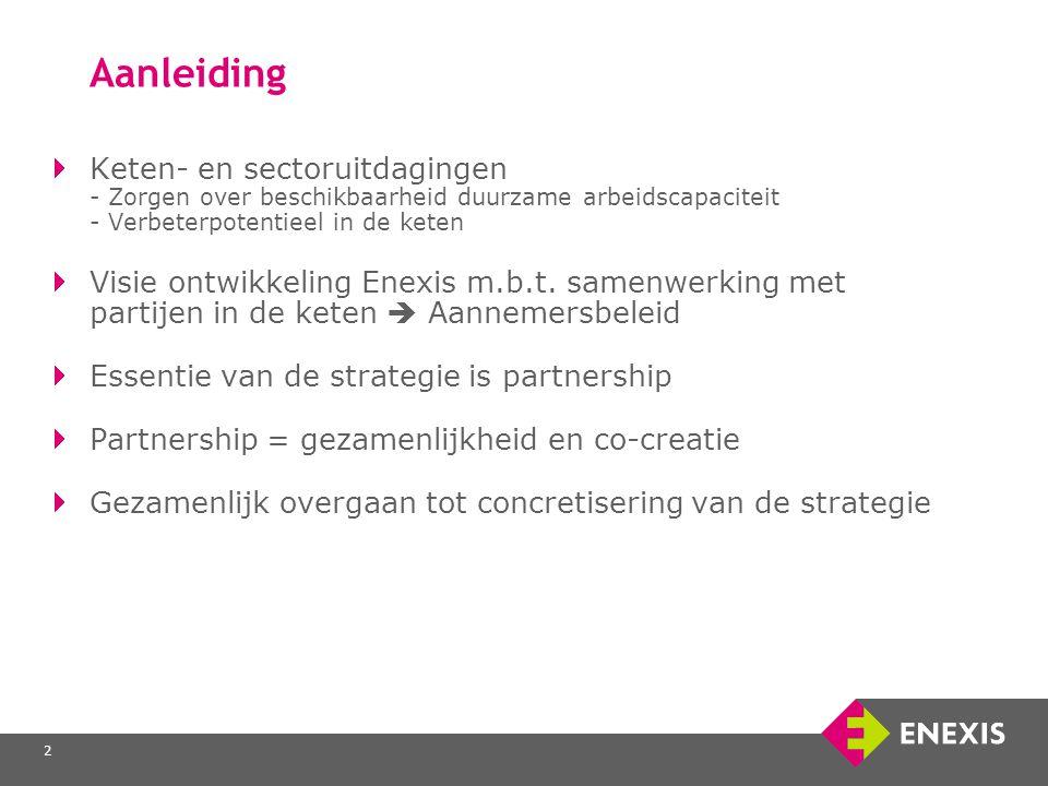 2 Aanleiding Keten- en sectoruitdagingen - Zorgen over beschikbaarheid duurzame arbeidscapaciteit - Verbeterpotentieel in de keten Visie ontwikkeling Enexis m.b.t.