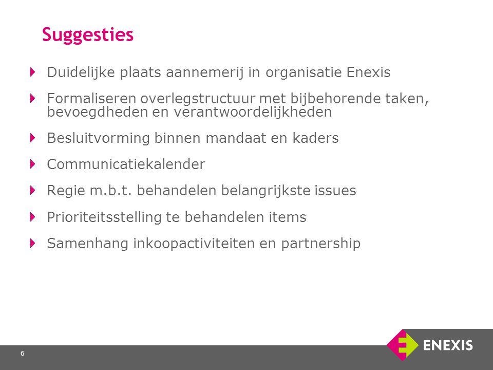 6 Suggesties Duidelijke plaats aannemerij in organisatie Enexis Formaliseren overlegstructuur met bijbehorende taken, bevoegdheden en verantwoordelijkheden Besluitvorming binnen mandaat en kaders Communicatiekalender Regie m.b.t.