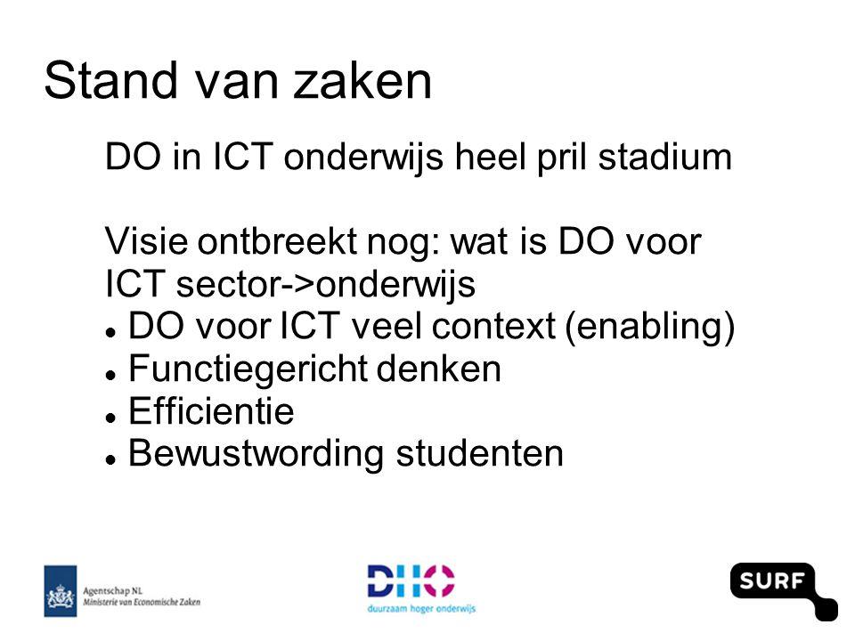 Stand van zaken DO in ICT onderwijs heel pril stadium Visie ontbreekt nog: wat is DO voor ICT sector->onderwijs DO voor ICT veel context (enabling) Functiegericht denken Efficientie Bewustwording studenten