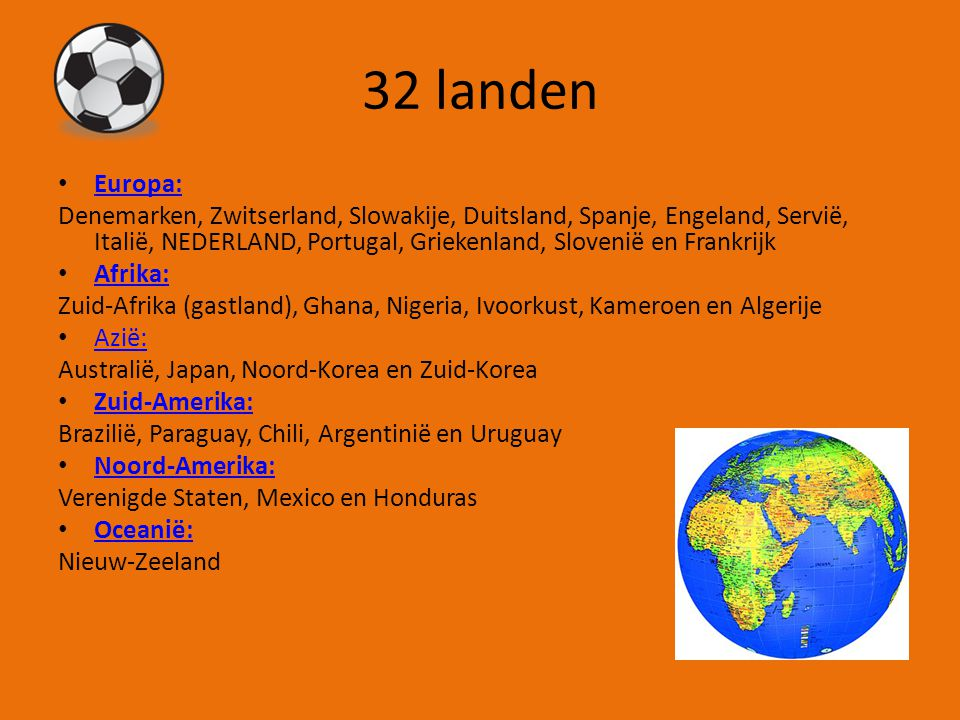 32 landen Europa: Denemarken, Zwitserland, Slowakije, Duitsland, Spanje, Engeland, Servië, Italië, NEDERLAND, Portugal, Griekenland, Slovenië en Frankrijk Afrika: Zuid-Afrika (gastland), Ghana, Nigeria, Ivoorkust, Kameroen en Algerije Azië: Australië, Japan, Noord-Korea en Zuid-Korea Zuid-Amerika: Brazilië, Paraguay, Chili, Argentinië en Uruguay Noord-Amerika: Verenigde Staten, Mexico en Honduras Oceanië: Nieuw-Zeeland