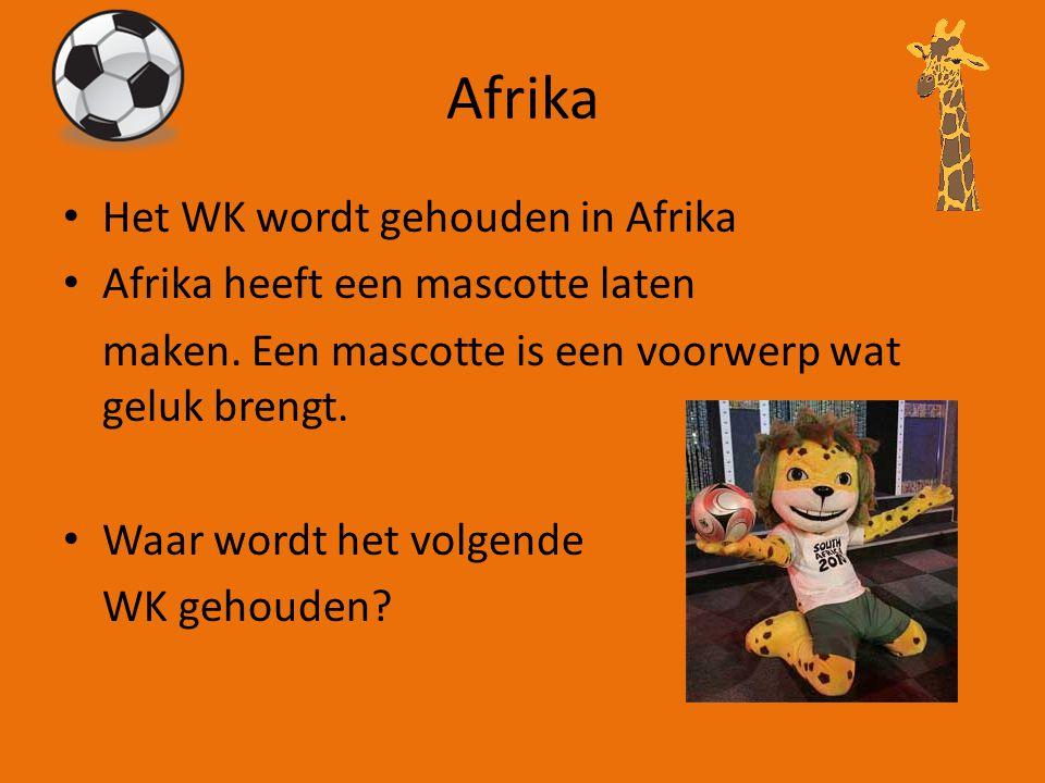 Afrika Het WK wordt gehouden in Afrika Afrika heeft een mascotte laten maken.