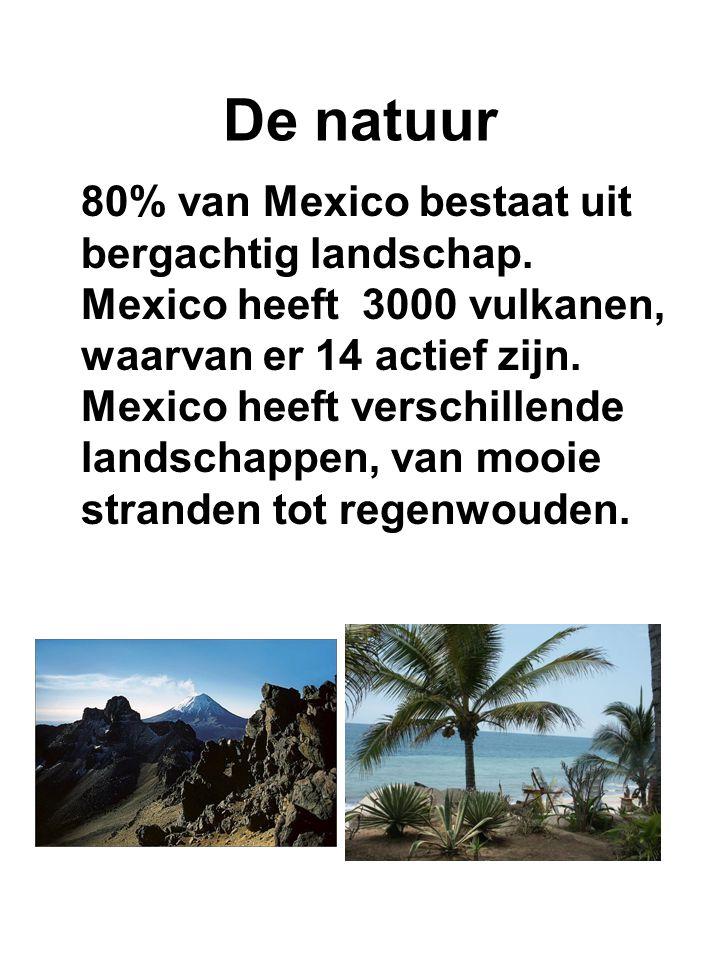 De natuur 80% van Mexico bestaat uit bergachtig landschap. Mexico heeft 3000 vulkanen, waarvan er 14 actief zijn. Mexico heeft verschillende landschap