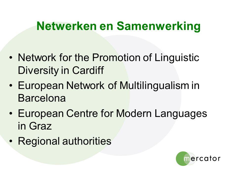 Netwerken en Samenwerking Network for the Promotion of Linguistic Diversity in Cardiff European Network of Multilingualism in Barcelona European Centr