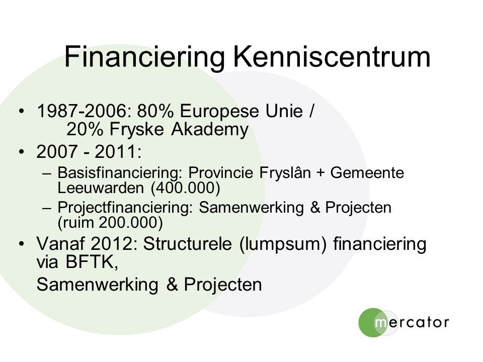 Financiering Kenniscentrum 1987-2006: 80% Europese Unie / 20% Fryske Akademy 2007 - 2011: –Basisfinanciering: Provincie Fryslân + Gemeente Leeuwarden