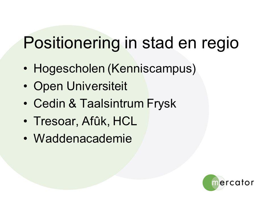 Positionering in stad en regio Hogescholen (Kenniscampus) Open Universiteit Cedin & Taalsintrum Frysk Tresoar, Afûk, HCL Waddenacademie