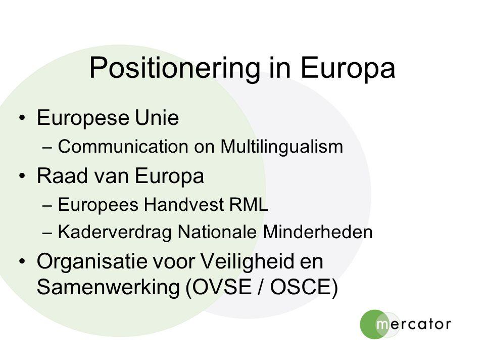 Positionering in Europa Europese Unie –Communication on Multilingualism Raad van Europa –Europees Handvest RML –Kaderverdrag Nationale Minderheden Org