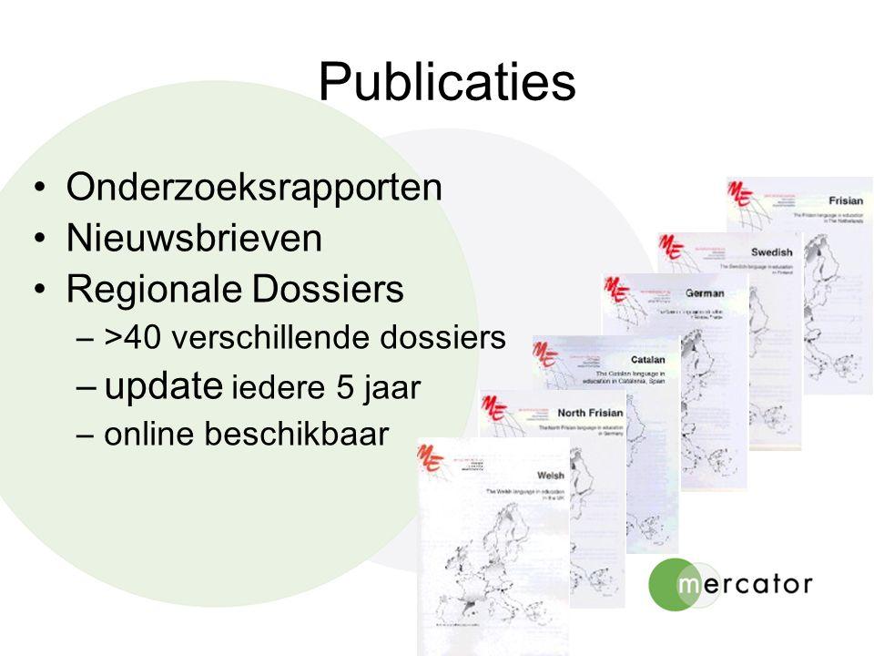 Onderzoeksrapporten Nieuwsbrieven Regionale Dossiers –>40 verschillende dossiers –update iedere 5 jaar –online beschikbaar Publicaties